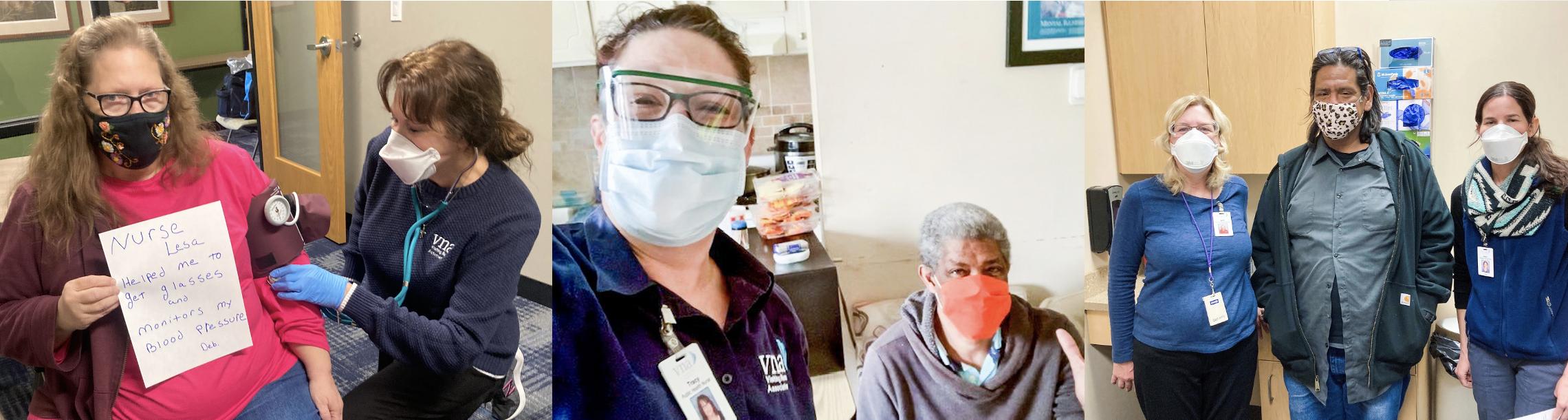 VNA shelter nurses with homeless shelter clients